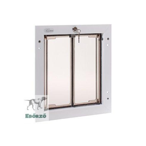 """PlexiDor® """"M"""" méretű ajtóba építhető kutyaajtó - Fehér színű"""