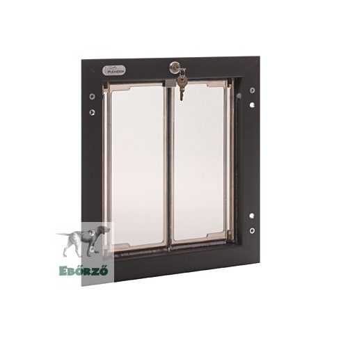 """PlexiDor® """"M"""" méretű ajtóba építhető kutyaajto - Bronz színű"""